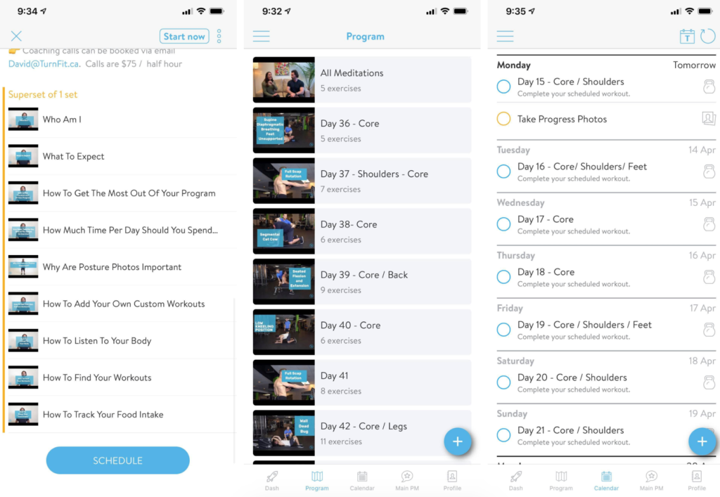 The Turnfit app makes it easy to track your online personal training program