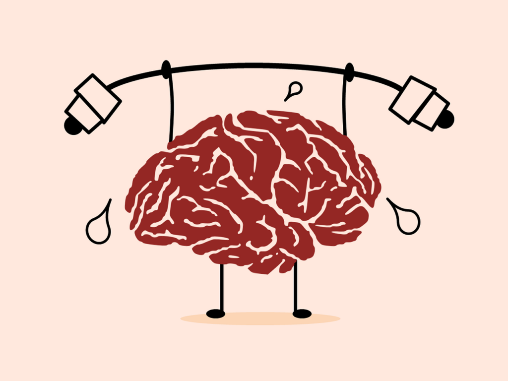 Animated brain lifting a barbell
