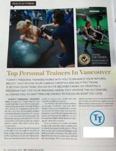 Turnfit Personal Trainers win the Vancouver top choice award 2019